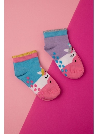 Katia & Bony 2'Li Paket Unicorn Desenli Kısa Bebek Çorap - Lila / Yeşil Yeşil